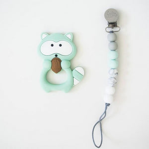 Loulou Lollipop Teether - Mint Raccoon with Holder - Bloom Kids Collection - Loulou Lollipop