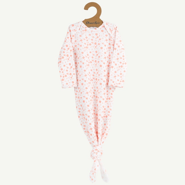 Oliver and Rain Flower Baby Gown - Pink - Bloom Kids Collection - Oliver and Rain