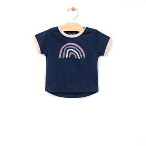 City Mouse Rainbow Ringer Tee - Midnight Blue
