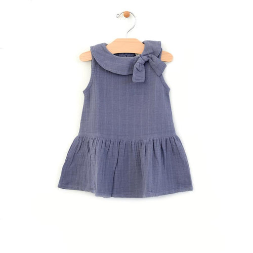 City Mouse Retro Collar Muslin Dress - Periwinkle - Bloom Kids Collection - City Mouse