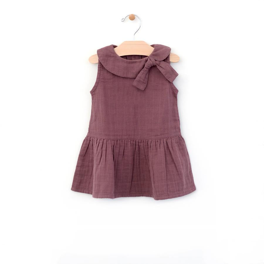 City Mouse Retro Collar Muslin Dress - Orchid - Bloom Kids Collection - City Mouse