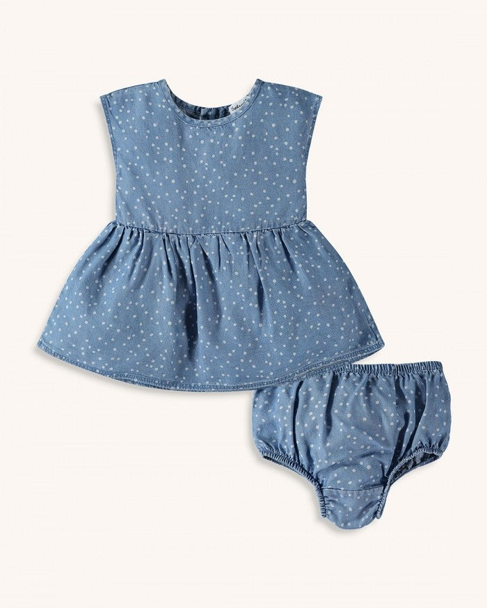 Splendid Baby Girl Dot Dress Set - Chambray - Bloom Kids Collection - Splendid