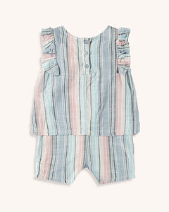 Splendid Baby Girl Woven Stripe Romper - Multi Stripe - Bloom Kids Collection - Splendid