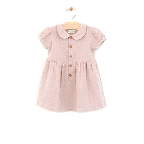 City Mouse Muslin Button Dress - Soft Rose - Bloom Kids Collection - City Mouse