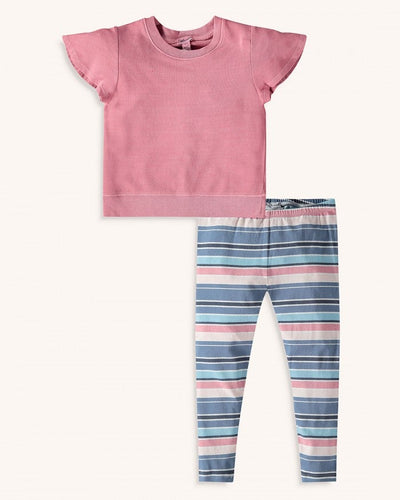 Splendid Toddler Girl Stripe Legging Set - Barefoot Pink - Bloom Kids Collection - Splendid