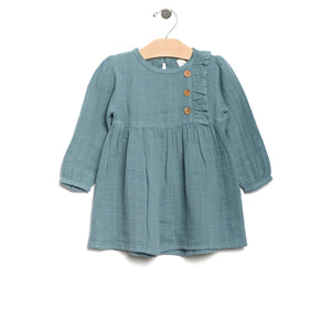 City Mouse Muslin Side Button Dress - Lake - Bloom Kids Collection - City Mouse