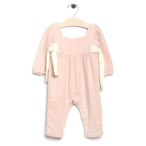 City Mouse Muslin Side Tie Romper - Soft Rose - Bloom Kids Collection - City Mouse