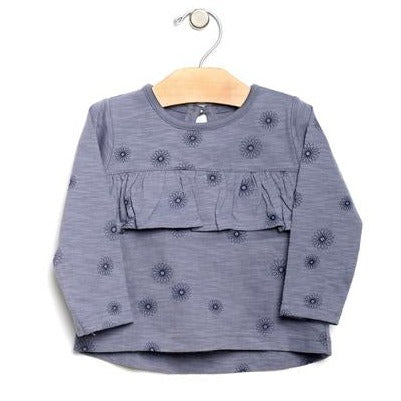 City Mouse Slub Spirals Flutter Tunic - Periwinkle - Bloom Kids Collection - City Mouse