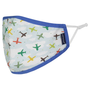 Andy & Evan 4 Pack Face Masks - 3 Layer with Filter Pocket - Dino/Planes (2T-7)