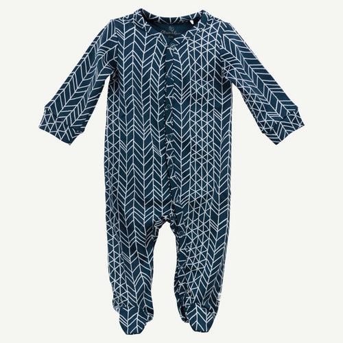 Oliver and Rain Dark Blue Chevron Print Pima Cotton Sleep and Play - Bloom Kids Collection - Oliver and Rain