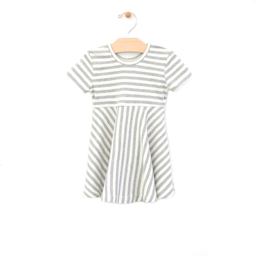 City Mouse Stripe Twirl Dress - Melange/Off White - Bloom Kids Collection - City Mouse