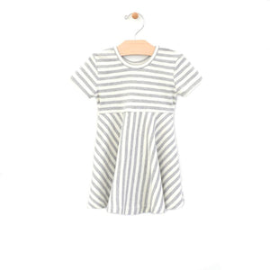 City Mouse Stripe Twirl Dress - Melange/Off White