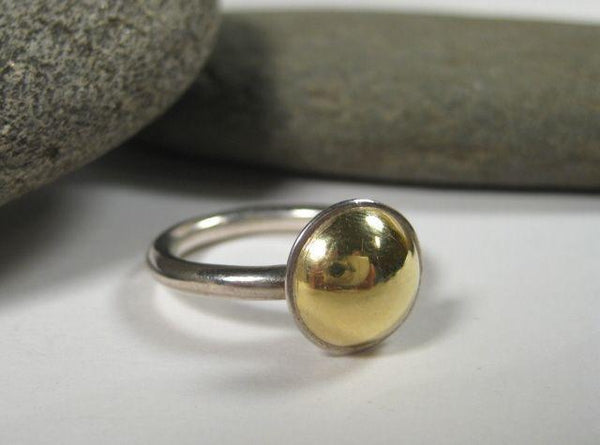 18K Gold Dome on Sterling Silver Shank Ring-Elizabeth Prior