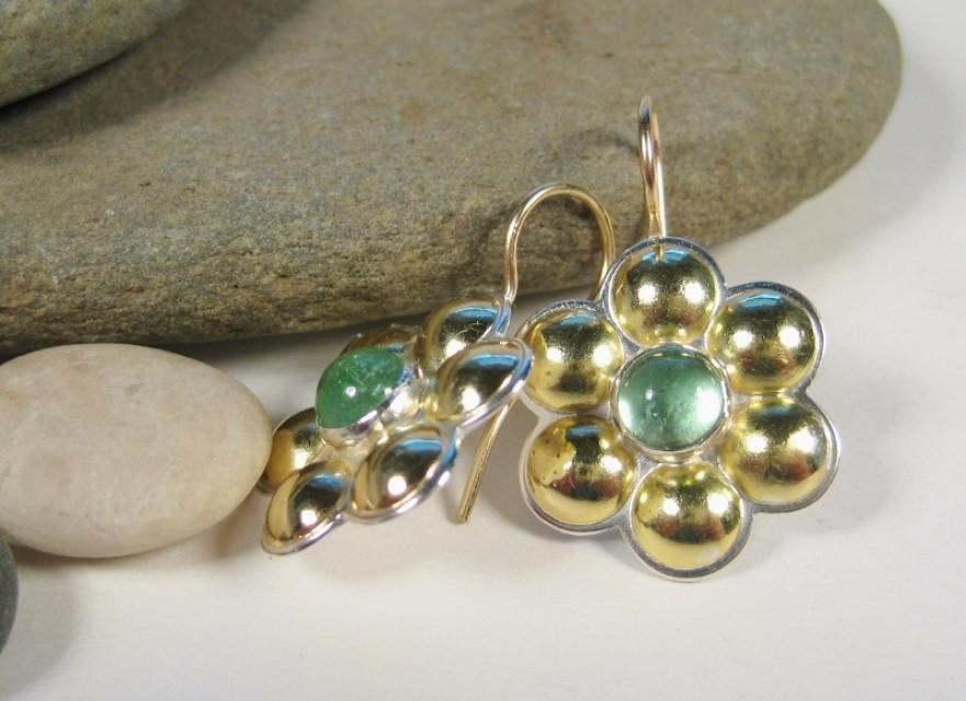 18K Gold Multi Dome Earrings with Cabochon-Elizabeth Prior