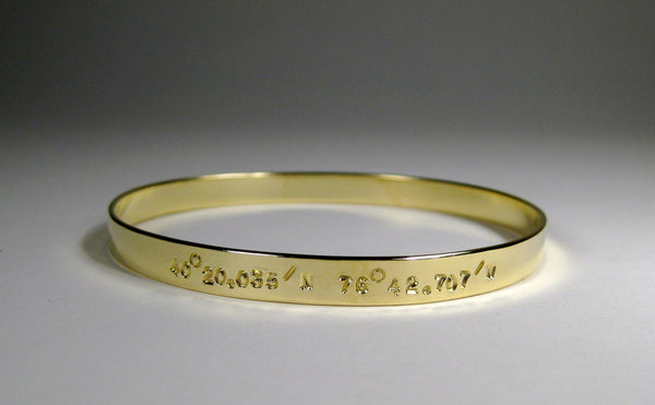 18k Gold 6mm Bangle w/ Latitude & Longitude
