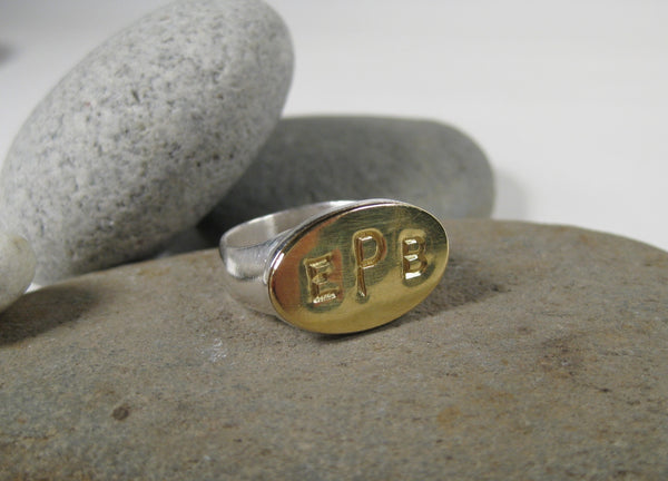 18K Gold Monogram on Sterling Silver Ring