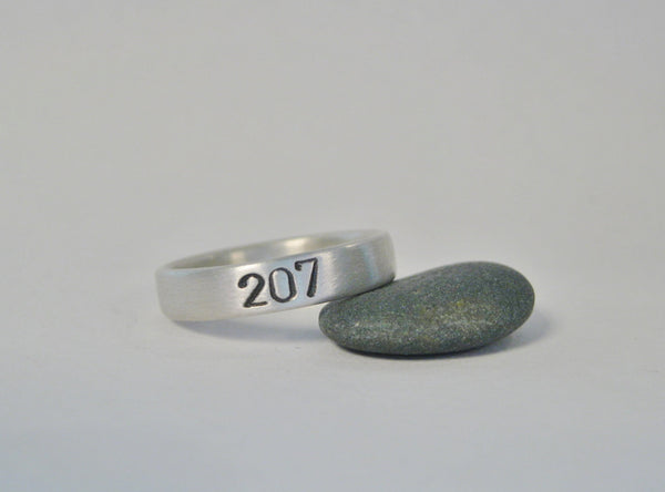 Maine Area Code Ring, Sterling Silver