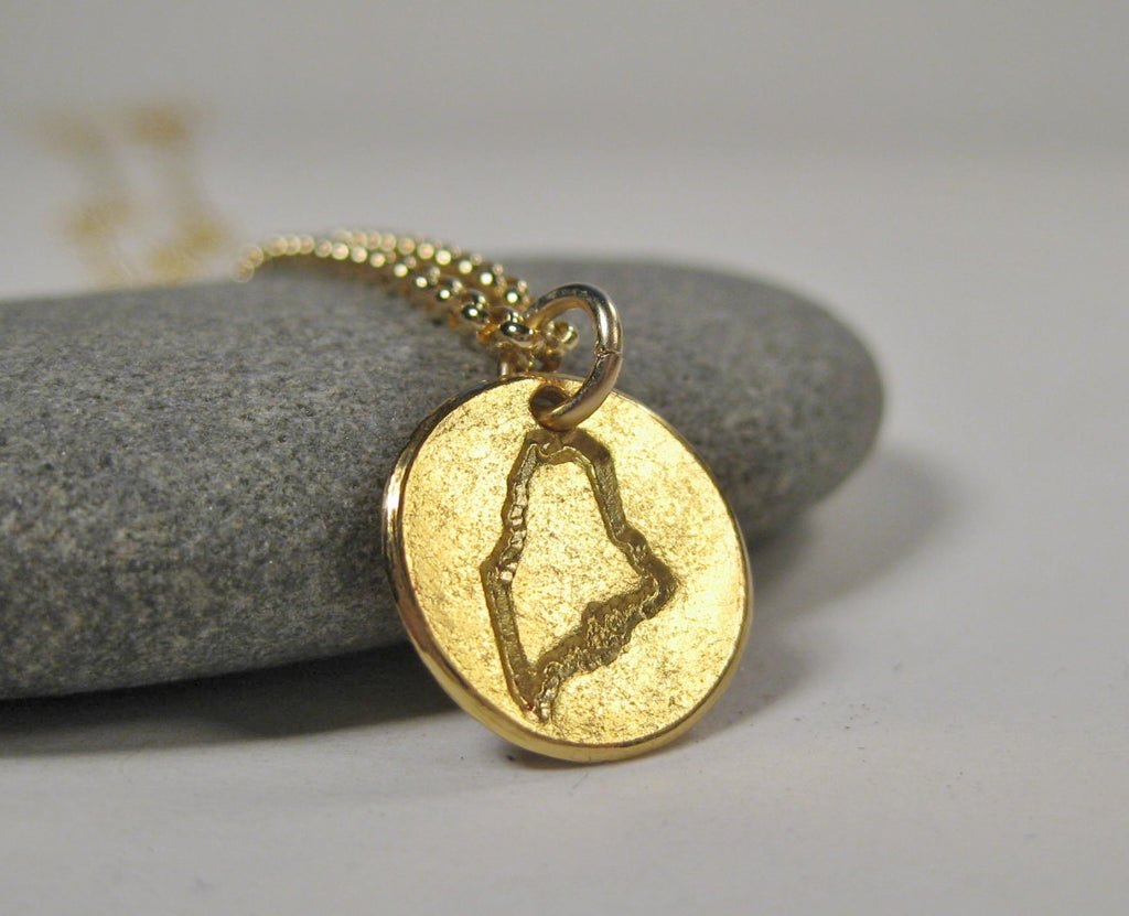 22k Gold Stamped State of Maine Necklace