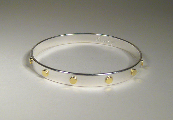 Sterling Silver Bangle with 18k Gold Dots