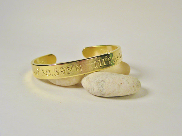 Latitude Longitude 18k Gold Women's Cuff (8mm wide w/large text)