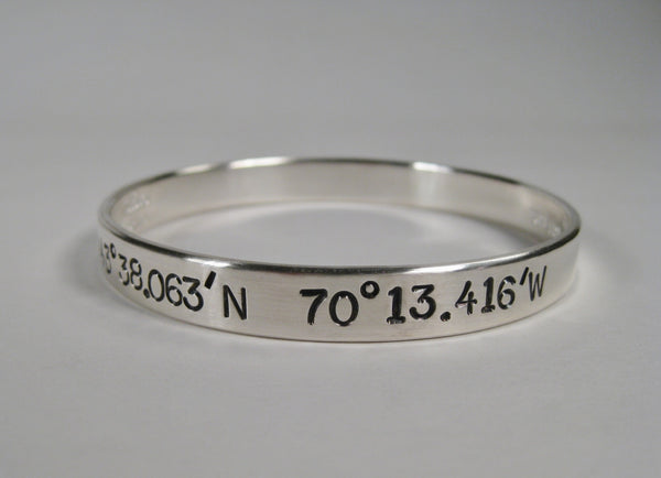 Sterling Silver Bangle w/ Latitude & Longitude, 8mm, Large text