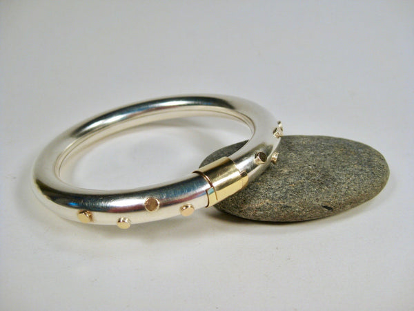 18k Gold Dots on Sterling Silver Bangle