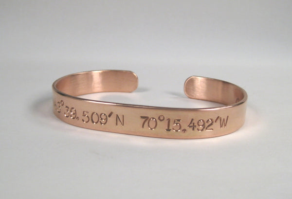 Copper Cuff w/ Latitude & Longitude, Large Text