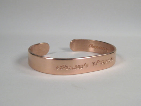 Copper Cuff w/ Latitude & Longitude, Small Text
