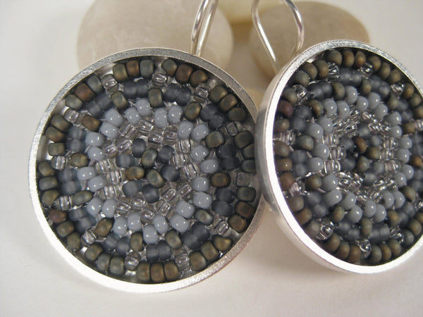 Gray Woven Japanese Seed Bead Earrings