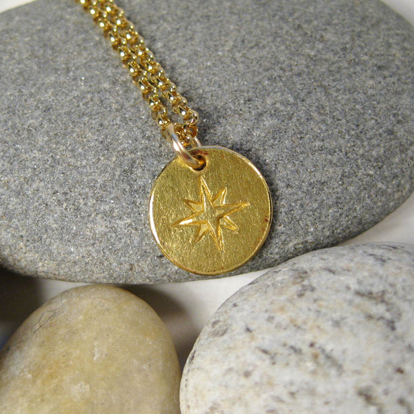 22k Gold Small Compass on Gold Filled Chain