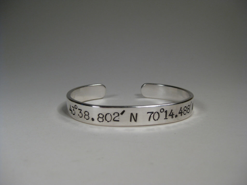 Women's Sterling Silver Cuff w/ Latitude & Longitude, 8mm, Large Text