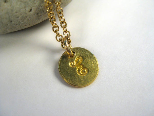 Hand-Stamped 22k Gold Initial Charm