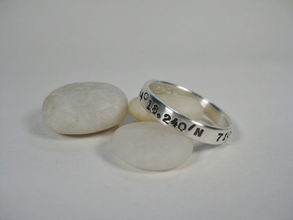 Sterling Silver Latitude & Longitude Ring