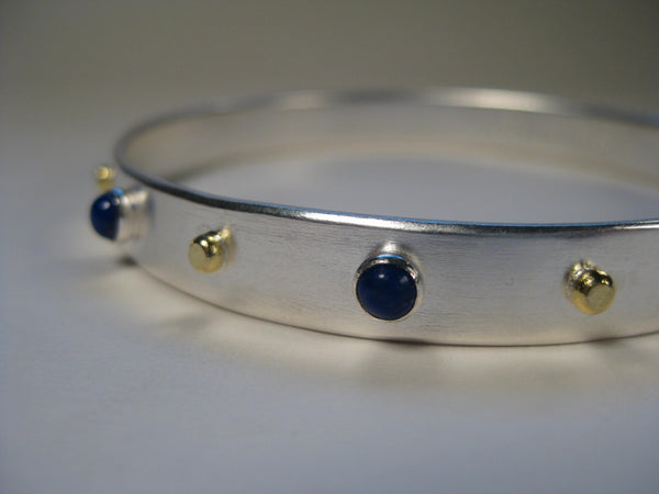 Lapis Lazuli Sterling Silver Bangle with 18k Gold Dots