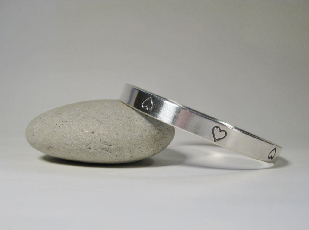 Wide Sterling Silver Heart Bangle