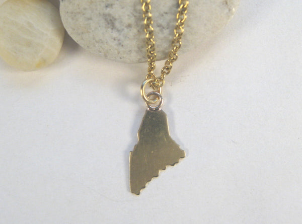 Small 18k Gold State of Maine Pendant