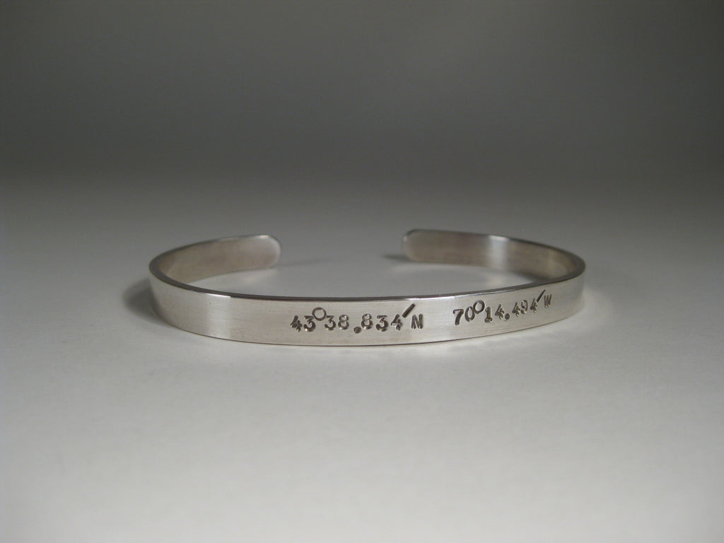 Men's Sterling Silver Cuff w/ Latitude & Longitude, 6mm
