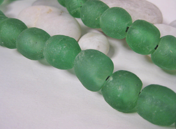 Green Glass Beads on Linen