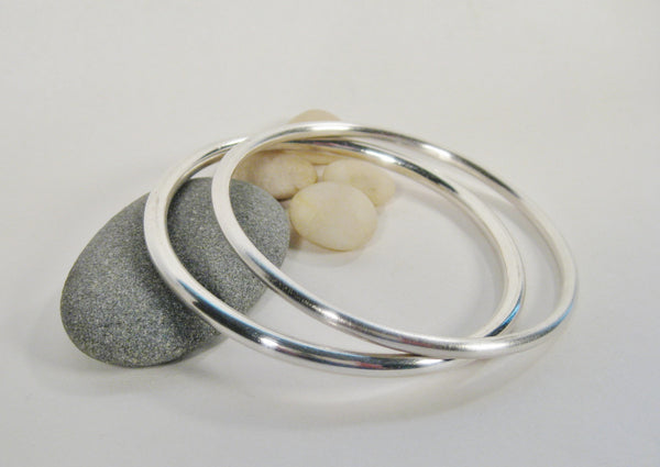 Pair of Plain Sterling Silver Bangles