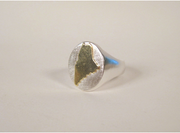 Sterling Silver and 18k Gold State of Maine Ring