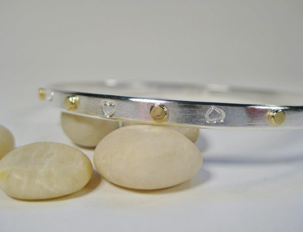 Sterling Silver Hand Stamped Heart Bangle with 18k Gold