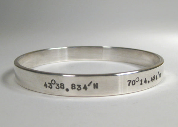 Sterling Silver Bangle w/ Latitude & Longitude, 8mm, Small Text