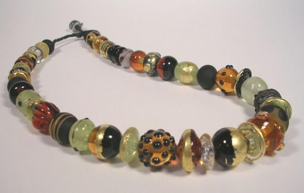 Black and Gold Bead Necklace-Elizabeth Prior