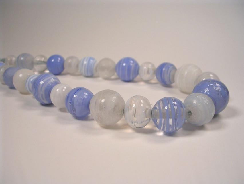 Blue and White Round Bead Necklace-Elizabeth Prior