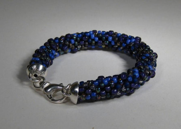 Blue Crocheted Seed Bead Bracelet-Elizabeth Prior