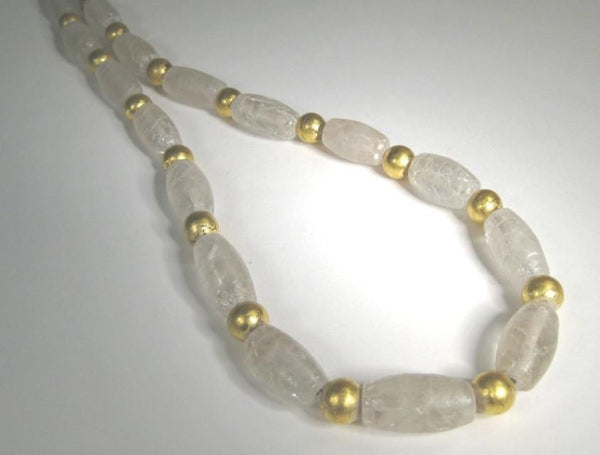 Crystal and Gold Bead Necklace-Elizabeth Prior