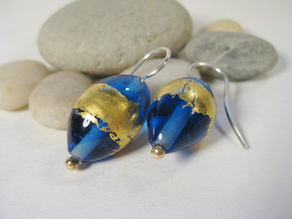 Transparent Cobalt Blue Flamework Earrings