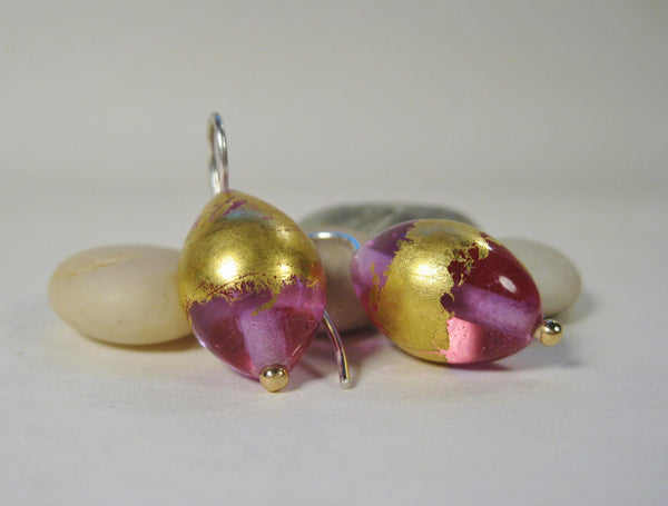 Transparent Lavender Flamework Earrings