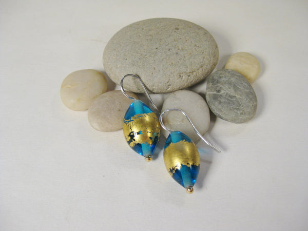 Transparent Teal Flamework Earrings