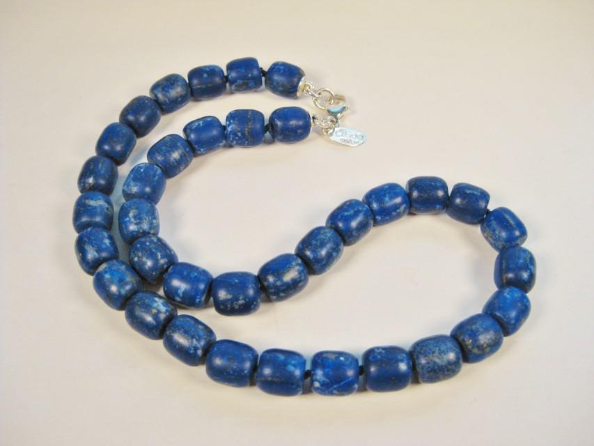 Lapis Barrel Beads Necklace-Elizabeth Prior